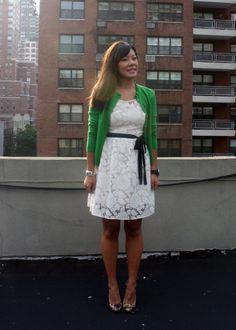 8-26-2011 Leopard & Lace  *Forever 21 Lace Dress  *J.Crew (outlet) Ruffle Collar Cardigan  *Jessica Simpson Leopard Patent Pumps