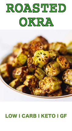 Oven Baked Okra quick and easy way to cook okra in the over. Crunchy, spicy and delicious, perfect for a side dish, snack or an appetizer. Low-calorie and low-carb, this okra baked in the oven makes the perfect Keto side dish. Low Calorie Sides, Low Calorie Dinners, No Calorie Foods, Keto Foods, Paleo Diet, Low Calorie Vegan Meals, Low Calorie Baking, Low Calorie Pasta, Eating Paleo
