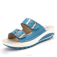 6bce5bdd7b507 Socofy Big Size Soft Leather Buckle Peep Toe Slippers Slip On Beach Platform  Sandals - Banggood Mobile