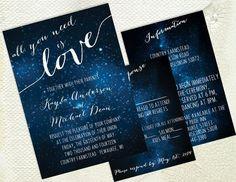 DIY Printable Wedding Invitation - Galaxy - Stars - Space - Universe - Dark Blue…