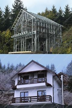 How are light steel structures produced at Light Steel Structure Factory. Light steel structures for steel houses, industrial buildings and modular houses. Shed Building Plans, Metal Building Homes, Building A House, Steel Frame House, Steel House, Pre Engineered Buildings, Steel Framing, Roof Truss Design, Steel Trusses