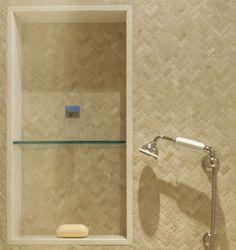 Old Wheatley Road, Long Island - bathroom - new york - Sussan Lari Architect PC Chevron Tile, Herringbone Tile, Custom Home Designs, Custom Homes, Decorative Tile, Glass Shelves, Long Island, Master Bathroom, House Design