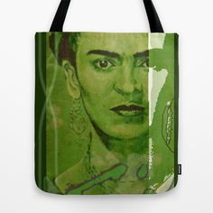 Frida Kahlo - between worlds - green Tote Bag by ARTito - $22.00