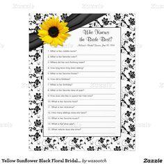 Yellow Sunflower Black Floral Bridal Shower Game Letterhead