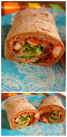 Delicious Chicken Fajita Wrap! A lower calorie plus healthy vs the restaurants!