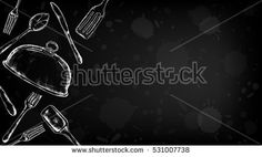 Plated ware and cutlery set vector illustration blackboard style