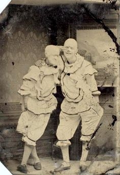 ca. 1870, [tintype portrait of two clowns in costume]  via the International Center of Photography