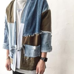Wearing Stylish Mens Fashion Jackets - Top Fashion For Men Stylish Mens Fashion, Denim Fashion, Fashion Suits, Fashion Clothes, Womens Fashion, Patchwork Jeans, Denim Fabric, Korean Street Fashion, Business Casual Outfits