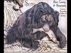 Bear Carving & Pyrography Zoomed In Pyrography, Wood Burning, Handmade Crafts, Lion Sculpture, Carving, Bear, Statue, Cats, Artwork