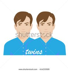vector illustration of twin brothers.