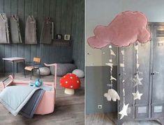French Vintage Finds: Atelier Charivari. Anne Claire Petit crochet mushroom toadstool. Cloud mobile.