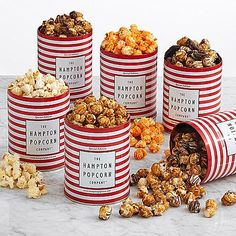 Ready ... set ... snack! This amazing selection of gourmet popcorn truly has something for everyone. Whether you're delighting their sweet tooth with white and dark chocolate swirl, or want to cater to their more savory side with delicious cheddar cheese, this gift is sure to hit the mark. They'll enjoy 6 decadent flavors, each packaged in a reusable tin container.