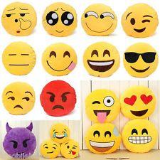 Yellow Round Cushion Soft Emoji Smi...