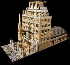 Charing Cross station, in Victorian times, built with LEGO bricks