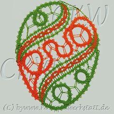 Klöppeln Osterei - Idrija + Mailänder Spitze Needle Lace, Bobbin Lace, Romanian Lace, Lace Heart, Lace Jewelry, Lace Detail, Easter, Butterfly, Lace