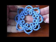 9' TUTORIAL ORECCHINI CERCHIO CON PERLINE CHIACCHIERINO AD AGO EARRINGS NEEDLE TATTING