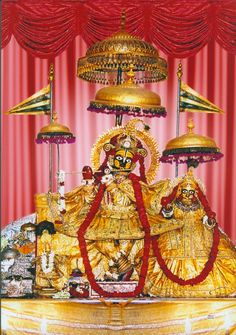 Sri Sri Radha Govinda Deities that are in Jaipur. They used to be in the Radha Govindaji Tmeple in Vrindavan until They were moved to Jaipur under the threat of the invasion lead by Aurangazeb into Vrindavana.