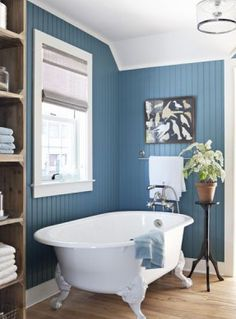 Blue Bathrooms paint the master bath water closet a fun color to brighten it up