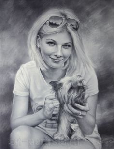 Portrait Drawing Girl with a little dog by Drawing-Portraits on DeviantArt