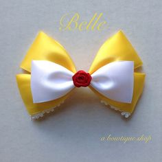 beauty and the beast hair bow by abowtiqueshop on Etsy