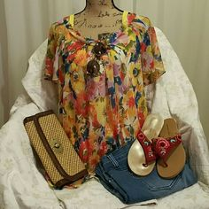 """Floral Print Shirt w/ Solid Yellow Tank Set This sunny bouquette of bright flowers is a cotton rayon blend that floats over a pretty sunshine yellow tank. Collar is a soft rolled ribbon of fabric that scoops the neckline - so pretty. Flutter short sleeves make this top fun & flirty. Length is 27 1/2"""". Worn 1 time - excellent condition! Tops Tank Tops"""