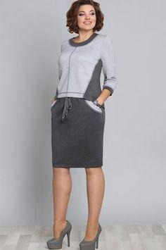 Костюм Галеан Cтиль, серый (модель 592) — Белорусский трикотаж в интернет-магазине «Швейная традиция» Plus Size Dresses, Plus Size Outfits, Ladies Day Dresses, Sleeves Designs For Dresses, Mode Plus, Altered Couture, Sporty Outfits, Linen Dresses, Feminine Style