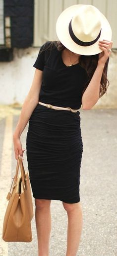 black dress simple belt