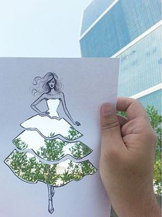 BoredPanda Fashion Illustrator Completes His Cut-Out Dresses With Clouds And Buildings by Shamekh Bluwi