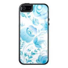 Chic Stylish Pretty Girly Blue Floral Pattern OtterBox iPhone 5/5s/SE Case - #chic gifts diy elegant gift ideas personalize