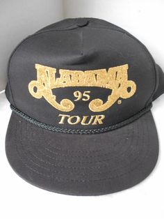 a4d05804b96 Vintage Alabama Tour 95 Trucker Snapback Hat Cap Black Gold Country  Rockabilly  Crown  Trucker