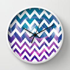 Universal Geometry - Chevron with purple and aqua galaxy  Wall Clock by Tangerine-Tane - $30.00