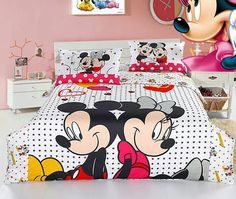 Cotton Bed Sheets Bedding Quilt Mickey Minnie Mouse Mikey Ideas Room Crib Sets