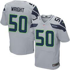 Nike Elite K.J. Wright Grey Men's Jersey - Seattle Seahawks #50 NFL Alternate