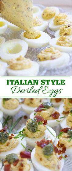 Italian Deviled Eggs for Easter plus tips for easy to peel hard boiled eggs