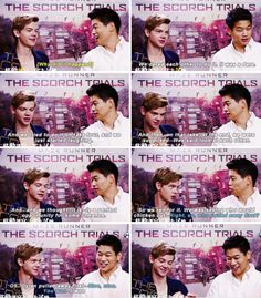 The contentness of Thomas Brodie Sangster winning face and Ki Hong Lee laughing at it