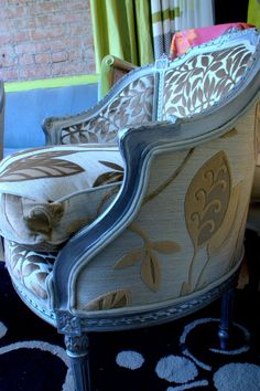Re Purposed Chair Vintage Chair hand painted in a silver finish