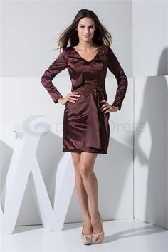 Beading Short Chocolate A-Line Misses Mother of the Bride Dress  http://www.GracefulDress.com/Beading-Short-Chocolate-A-Line-Misses-Mother-of-the-Bride-Dress-p19698.html