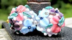 Babys Breath Handmade Lampwork Glass Floral Bead Set by TLBeads, $17.00