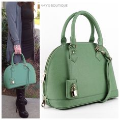 "Spotted while shopping on Poshmark: ""Beautiful Green Color Bowler Style Leather bag.""! #poshmark #fashion #shopping #style #Thammy's Boutique  #Handbags"