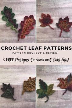 Crochet Leaf Free Pattern, Crochet Leaves, All Free Crochet, Crochet Flower Patterns, Crochet Motif, Crochet Flowers, Crochet Ideas, Crochet Pumpkin, Crochet Fall