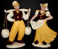 Hedi Schoop Hollywood Dutch Boy Girl Figurines Water Pails Rare Yellow Brown | eBay