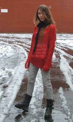 Red Sweater / Poppy Red Oversized thin knit grunge by ileaiye
