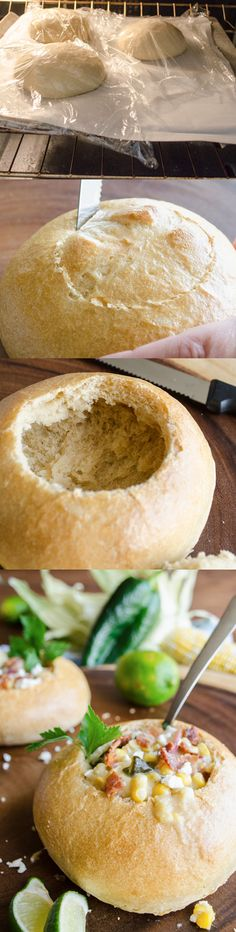 This Easy Bread Bowls recipe is a fun and delicious way to enjoy your favorite soup or chowder for lunch or dinner.