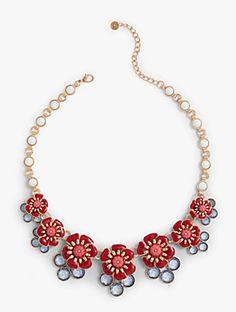 Flower & Gem Cluster Necklace