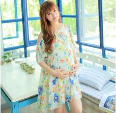 retail Maternity summer fashion chiffon dress pregnant women big yards loose floral short sleeves dress 2 colors XD734 US $24.30