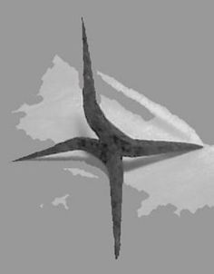 Medieval caltrop; designed to always land with a spike pointing upward.  Ideal for sabotaging a battlefield to slow the advance of horse.  Smaller versions may be used to slow pursuing guards by sticking in shoes or feet.