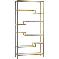 """This Gold and Mirrored shelving unit provides an elegant space for storing books and baubles with geometric flair. This contemporary piece features a metallic finish and step-inspired design. Metal, glass; Gold, mirror; 5 fixed shelves; Wipe with soft, dry cloth to clean; 36""""W x 12""""D x 74""""H; Weight: 59 lbs"""