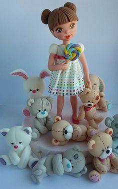 Girl,bears and bunny