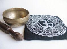 Zen mindfulness meditation  bell mat, Buddhist linen Om singing bowl cushion, hand printed  & embroidered altar / sacred space decor