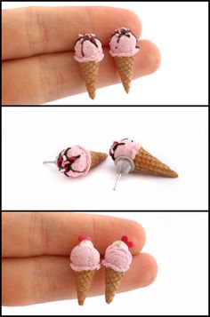 Strawberry Ice Cream Post Earrings by Maca-mau on DeviantArt Cute Polymer Clay, Cute Clay, Polymer Clay Miniatures, Fimo Clay, Polymer Clay Charms, Polymer Clay Projects, Polymer Clay Creations, Polymer Clay Earrings, Clay Crafts